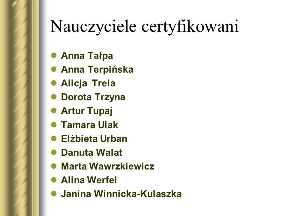 Nauczyciele certyfikowani Anna Tałpa Anna Terpińska Alicja Trela Dorota Trzyna Artur Tupaj Tamara Ulak Elżbieta Urban Danuta Walat Marta Wawrzkiewicz