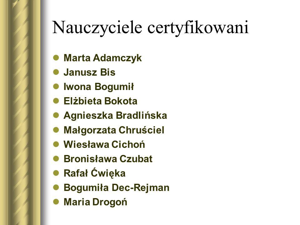 Nauczyciele certyfikowani Marta Adamczyk Janusz Bis Iwona Bogumił Elżbieta Bokota Agnieszka Bradlińska Małgorzata Chruściel Wiesława Cichoń Bronisława