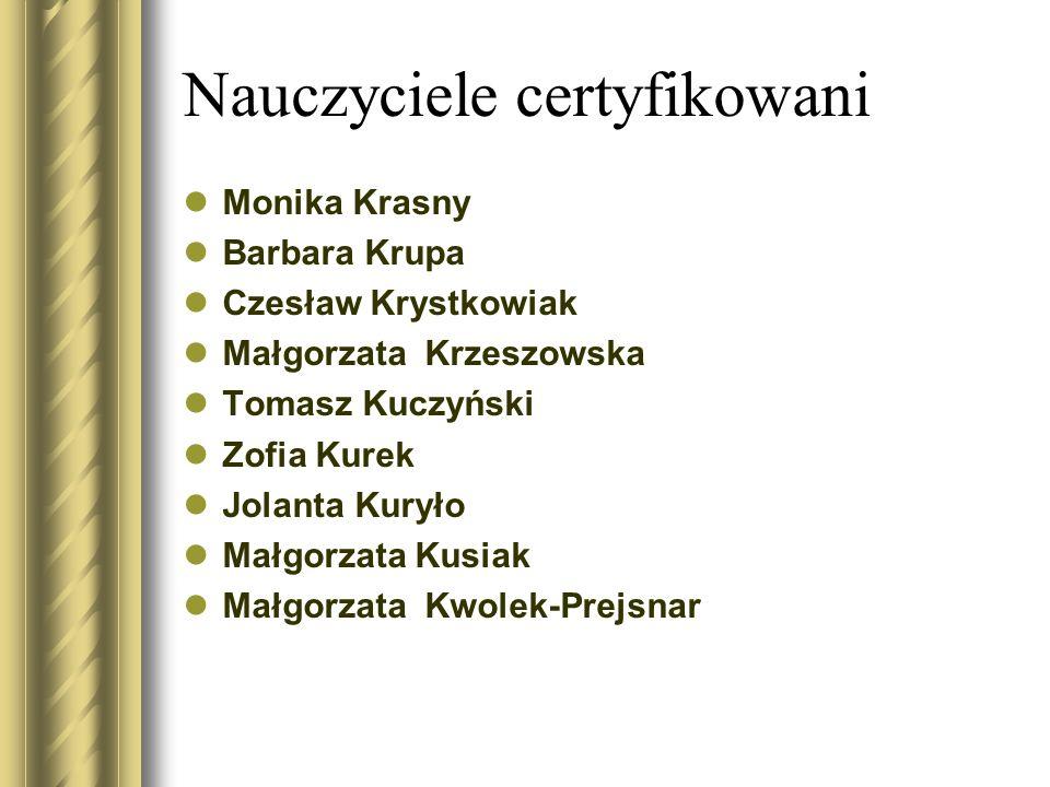 Nauczyciele certyfikowani Monika Krasny Barbara Krupa Czesław Krystkowiak Małgorzata Krzeszowska Tomasz Kuczyński Zofia Kurek Jolanta Kuryło Małgorzat