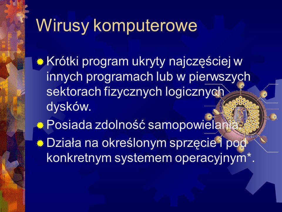 Wirusy komputerowe Krótki program ukryty najczęściej w innych programach lub w pierwszych sektorach fizycznych logicznych dysków. Posiada zdolność sam