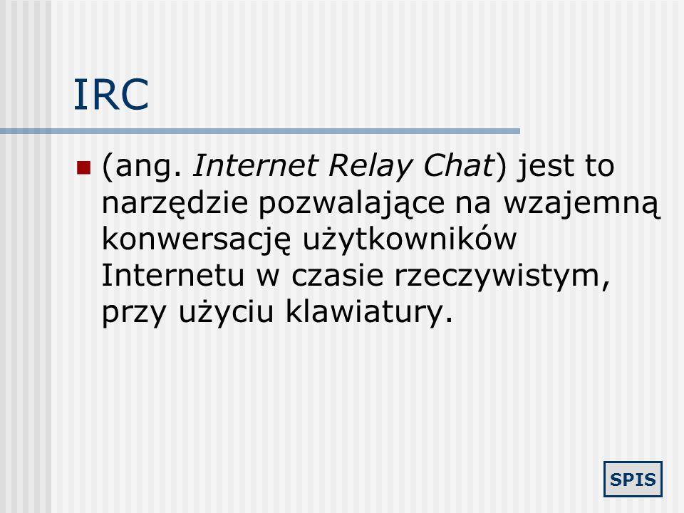 SPIS Sieci P2P (Peer-To-Peer) rodzaj sieci służącej do bezpośredniej wymiany plików między użytkownikami. Przykłady: Kazaa, Napster, BearShare, Gnutel