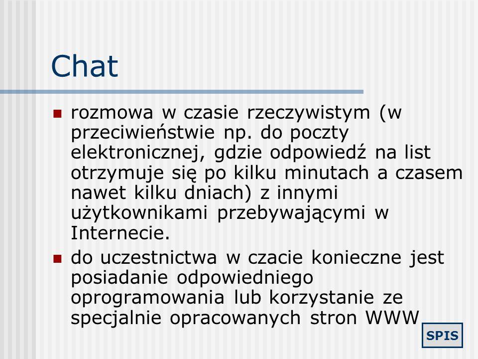 SPIS IRC (ang. Internet Relay Chat) jest to narzędzie pozwalające na wzajemną konwersację użytkowników Internetu w czasie rzeczywistym, przy użyciu kl