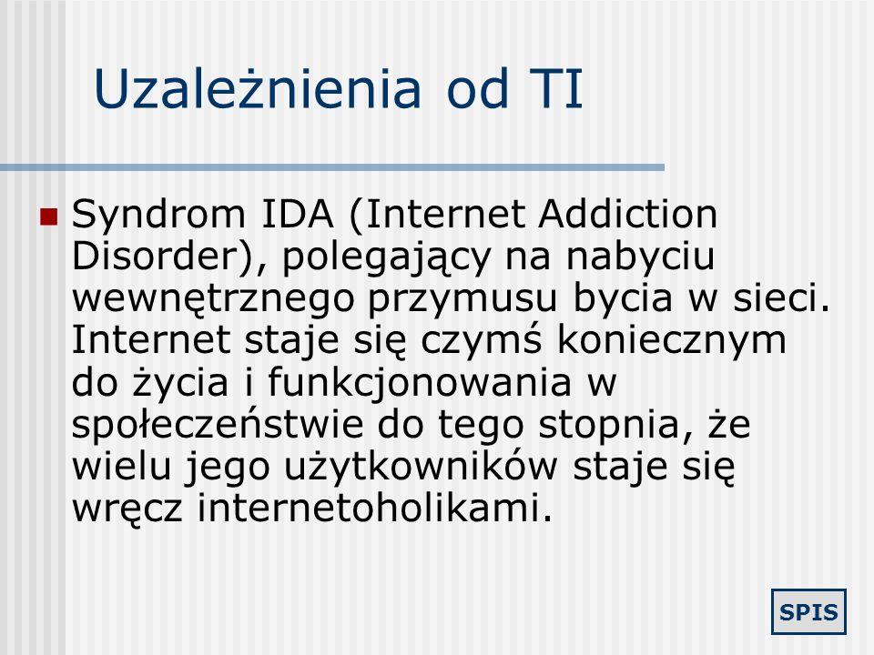 SPIS Uzależnienia Syndrom technohipnozy, polegający na popadaniu w trans, na przykład w trakcie gry komputerowej, syndrom ASC (Alcohol Stupor Conditio