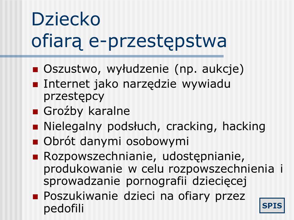 SPIS e - przestępstwa Dziecko ofiarą e-przestępstwa Pornografia dziecięca w sieci Polscy pedofile w sieci Dostęp dzieci do pornografii Dziecięce przes