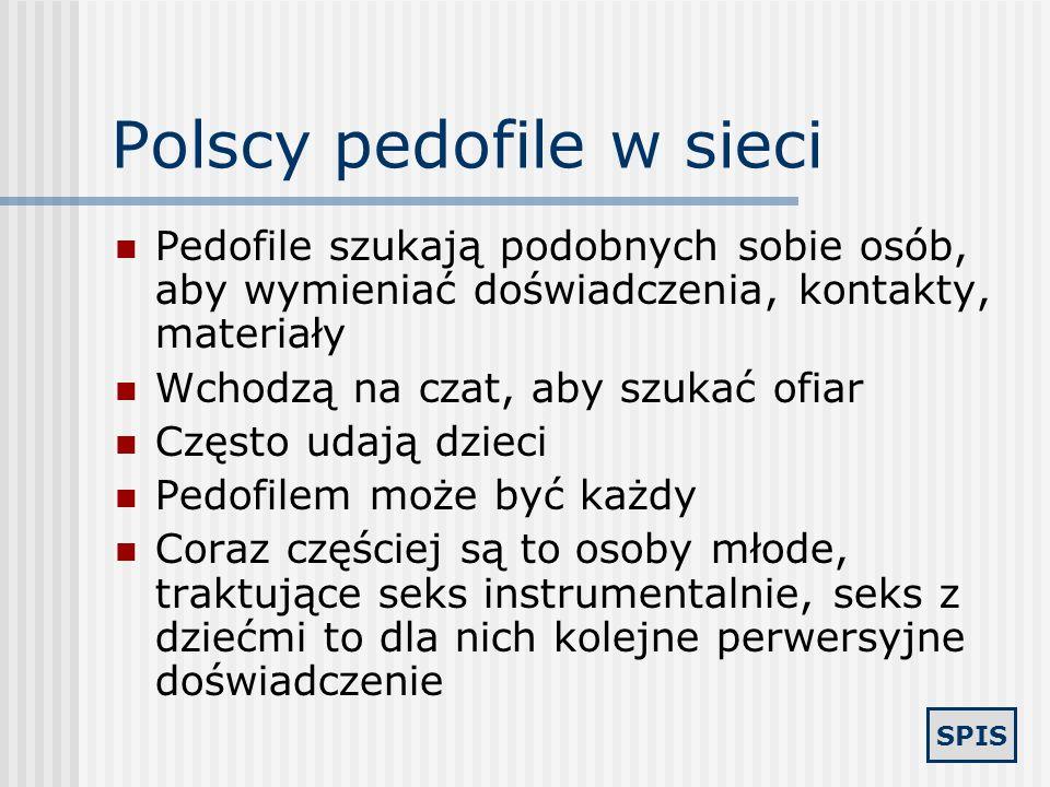 SPIS Polscy pedofile w sieci Serwisy randkowe i ogłoszeniowe (szukają ogłoszeń dzieci, zamieszczają własne) Czaty w portalach Komunikatory (Tlen, Gadu