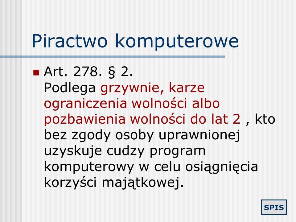 SPIS Bezpieczeństwo sieci Art. 267. § 1. Kto bez uprawnienia uzyskuje informację dla niego nie przeznaczoną, otwierając zamknięte pismo, podłączając s