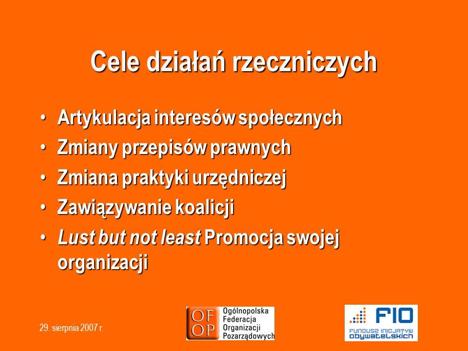 29. sierpnia 2007 r. Cele działań rzeczniczych Artykulacja interesów społecznych Artykulacja interesów społecznych Zmiany przepisów prawnych Zmiany pr