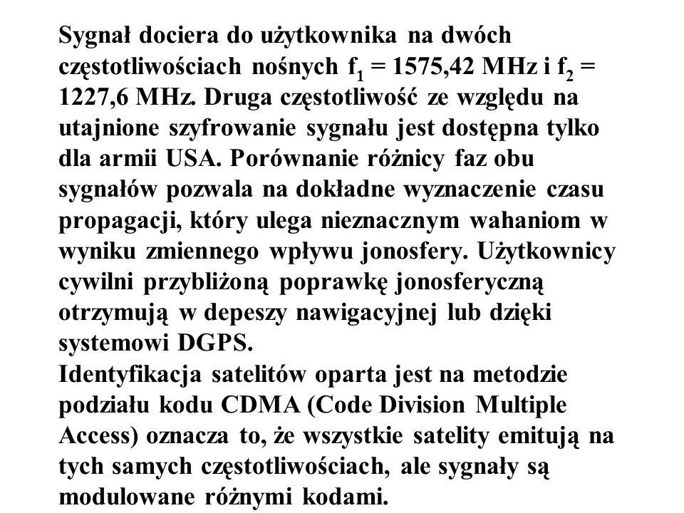 Sygnał dociera do użytkownika na dwóch częstotliwościach nośnych f 1 = 1575,42 MHz i f 2 = 1227,6 MHz. Druga częstotliwość ze względu na utajnione szy