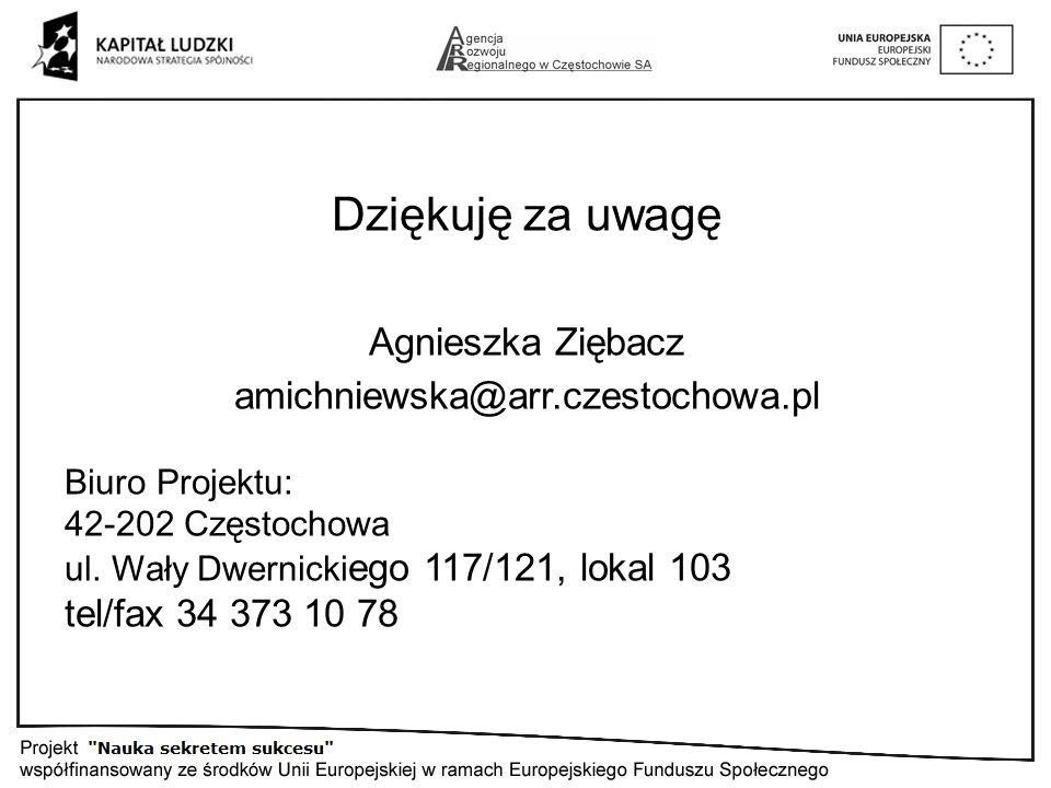 Dziękuję za uwagę Agnieszka Ziębacz amichniewska@arr.czestochowa.pl Biuro Projektu: 42-202 Częstochowa ul.