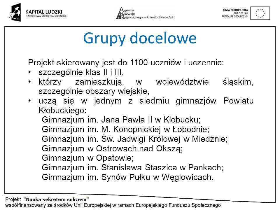 Grupy docelowe Projekt skierowany jest do 1100 uczniów i uczennic: szczególnie klas II i III, którzy zamieszkują w województwie śląskim, szczególnie obszary wiejskie, uczą się w jednym z siedmiu gimnazjów Powiatu Kłobuckiego: Gimnazjum im.