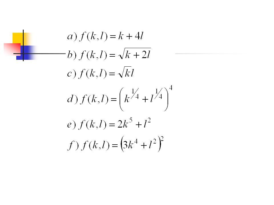 Problem 2. Dla następujących funkcji produkcji określ: 1. Krańcową produktywność, 2. Techniczne stopy substytucji, 3. Stopień jednorodności funkcji, 4