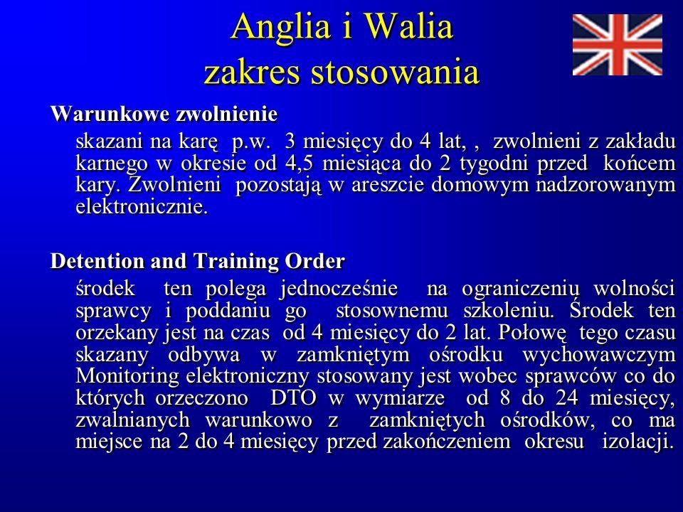 Anglia i Walia zakres stosowania Warunkowe zwolnienie skazani na karę p.w.