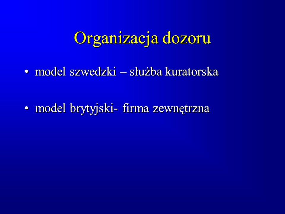 Organizacja dozoru model szwedzki – służba kuratorska model brytyjski- firma zewnętrzna model szwedzki – służba kuratorska model brytyjski- firma zewnętrzna