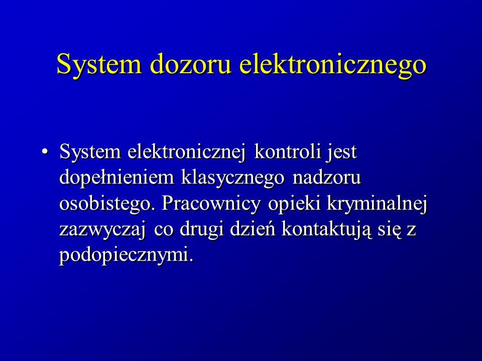 System dozoru elektronicznego System elektronicznej kontroli jest dopełnieniem klasycznego nadzoru osobistego. Pracownicy opieki kryminalnej zazwyczaj