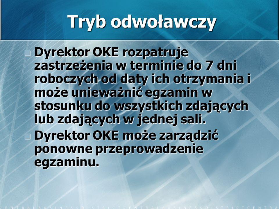 Tryb odwoławczy Dyrektor OKE rozpatruje zastrzeżenia w terminie do 7 dni roboczych od daty ich otrzymania i może unieważnić egzamin w stosunku do wszy