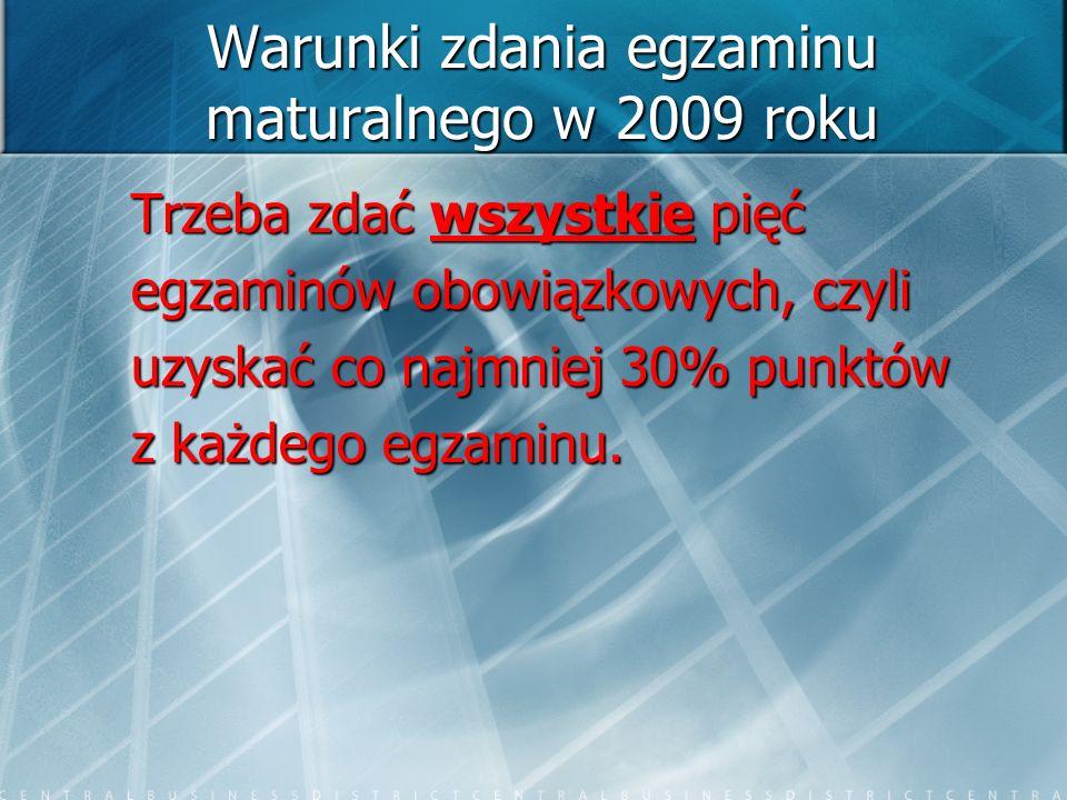 Warunki zdania egzaminu maturalnego w 2009 roku Trzeba zdać wszystkie pięć egzaminów obowiązkowych, czyli uzyskać co najmniej 30% punktów z każdego eg