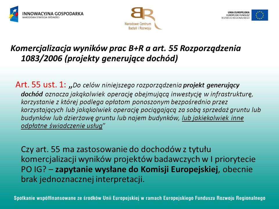 Komercjalizacja wyników prac B+R a art.