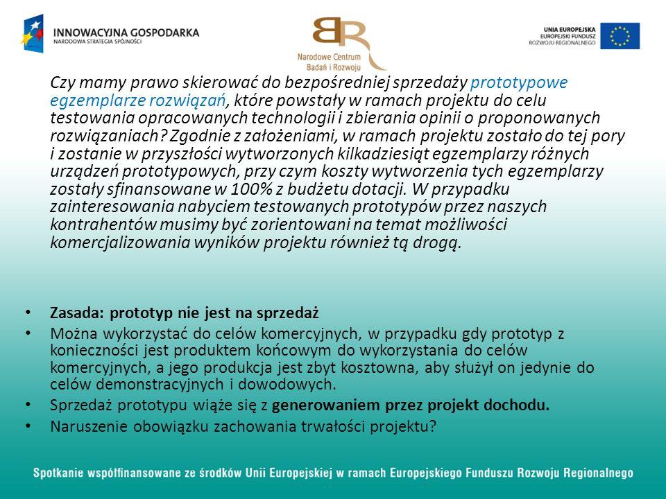 Czy mamy prawo skierować do bezpośredniej sprzedaży prototypowe egzemplarze rozwiązań, które powstały w ramach projektu do celu testowania opracowanych technologii i zbierania opinii o proponowanych rozwiązaniach.