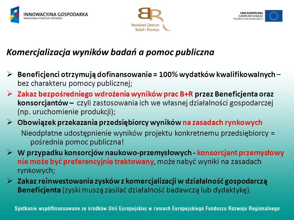 Komercjalizacja wyników badań a pomoc publiczna Beneficjenci otrzymują dofinansowanie = 100% wydatków kwalifikowalnych – bez charakteru pomocy publicznej; Zakaz bezpośredniego wdrożenia wyników prac B+R przez Beneficjenta oraz konsorcjantów – czyli zastosowania ich we własnej działalności gospodarczej (np.