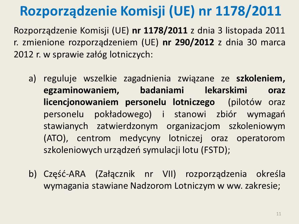 11 Rozporządzenie Komisji (UE) nr 1178/2011 Rozporządzenie Komisji (UE) nr 1178/2011 z dnia 3 listopada 2011 r. zmienione rozporządzeniem (UE) nr 290/