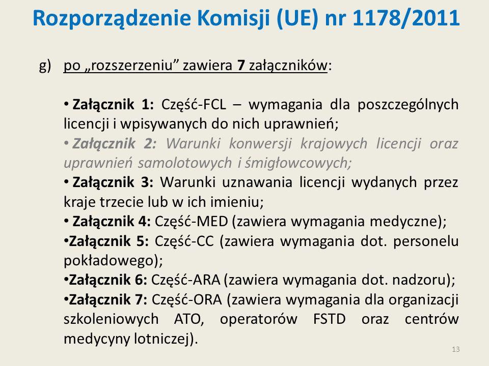 13 g)po rozszerzeniu zawiera 7 załączników: Załącznik 1: Część-FCL – wymagania dla poszczególnych licencji i wpisywanych do nich uprawnień; Załącznik
