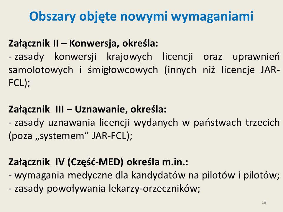18 Obszary objęte nowymi wymaganiami Załącznik II – Konwersja, określa: - zasady konwersji krajowych licencji oraz uprawnień samolotowych i śmigłowcow