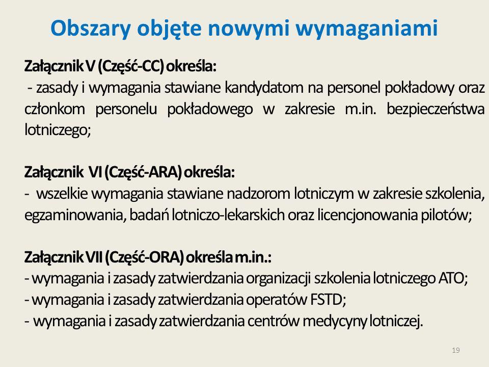 19 Obszary objęte nowymi wymaganiami Załącznik V (Część-CC) określa: - zasady i wymagania stawiane kandydatom na personel pokładowy oraz członkom pers