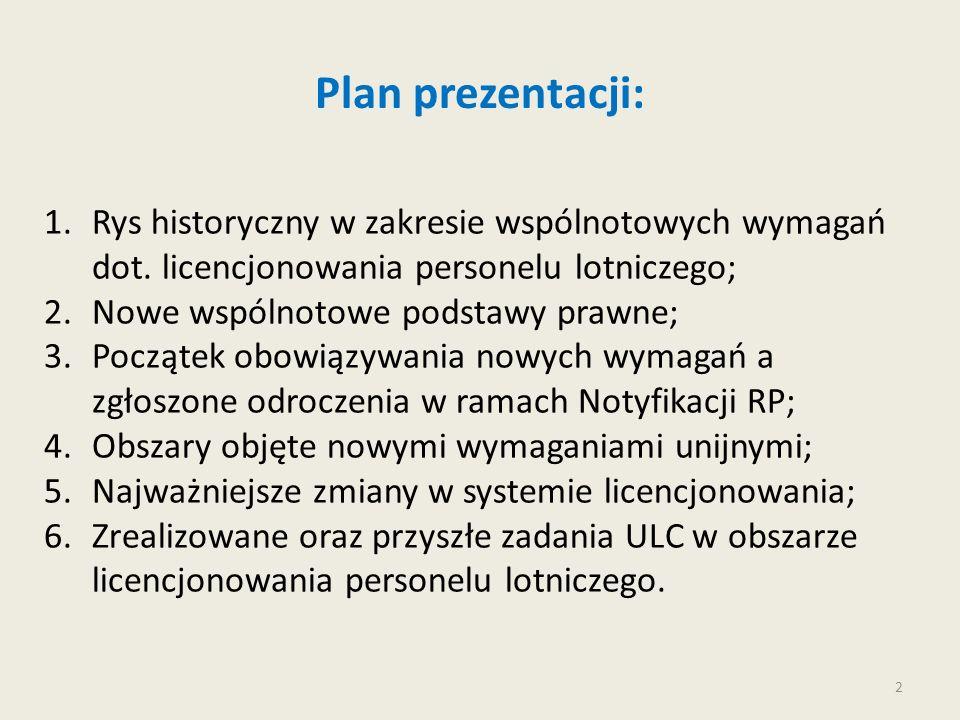 2 Plan prezentacji: 1.Rys historyczny w zakresie wspólnotowych wymagań dot. licencjonowania personelu lotniczego; 2.Nowe wspólnotowe podstawy prawne;