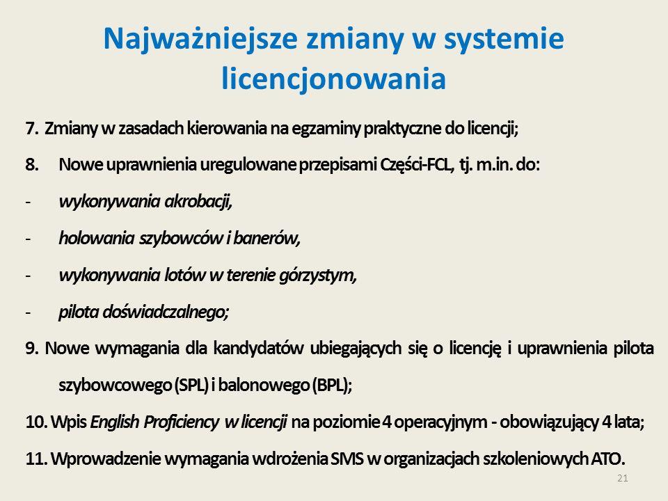 21 Najważniejsze zmiany w systemie licencjonowania 7. Zmiany w zasadach kierowania na egzaminy praktyczne do licencji; 8.Nowe uprawnienia uregulowane