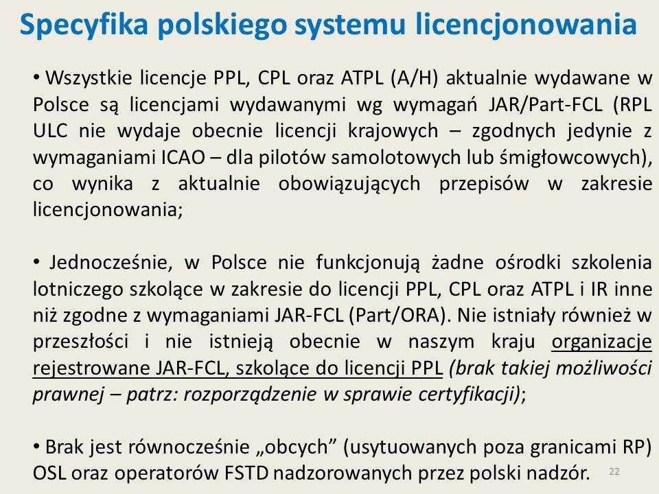 22 Wszystkie licencje PPL, CPL oraz ATPL (A/H) aktualnie wydawane w Polsce są licencjami wydawanymi wg wymagań JAR/Part-FCL (RPL ULC nie wydaje obecni