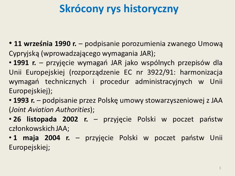 3 Skrócony rys historyczny 11 września 1990 r. – podpisanie porozumienia zwanego Umową Cypryjską (wprowadzającego wymagania JAR); 1991 r. – przyjęcie