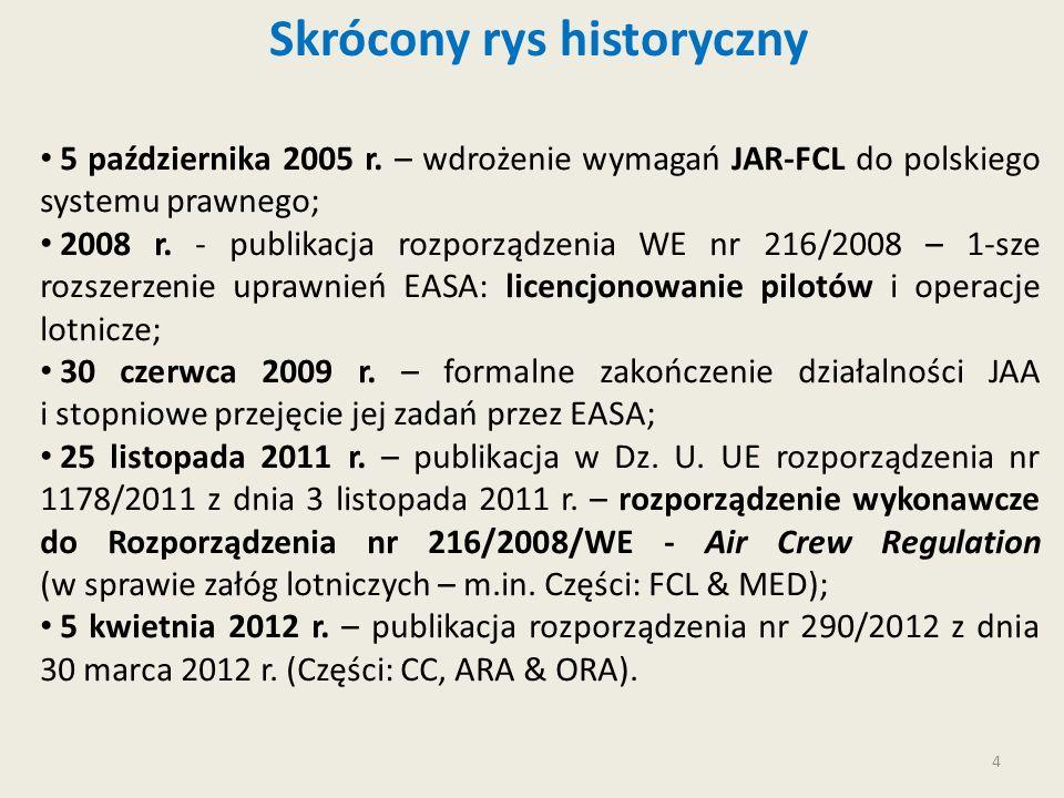 4 Skrócony rys historyczny 5 października 2005 r. – wdrożenie wymagań JAR-FCL do polskiego systemu prawnego; 2008 r. - publikacja rozporządzenia WE nr