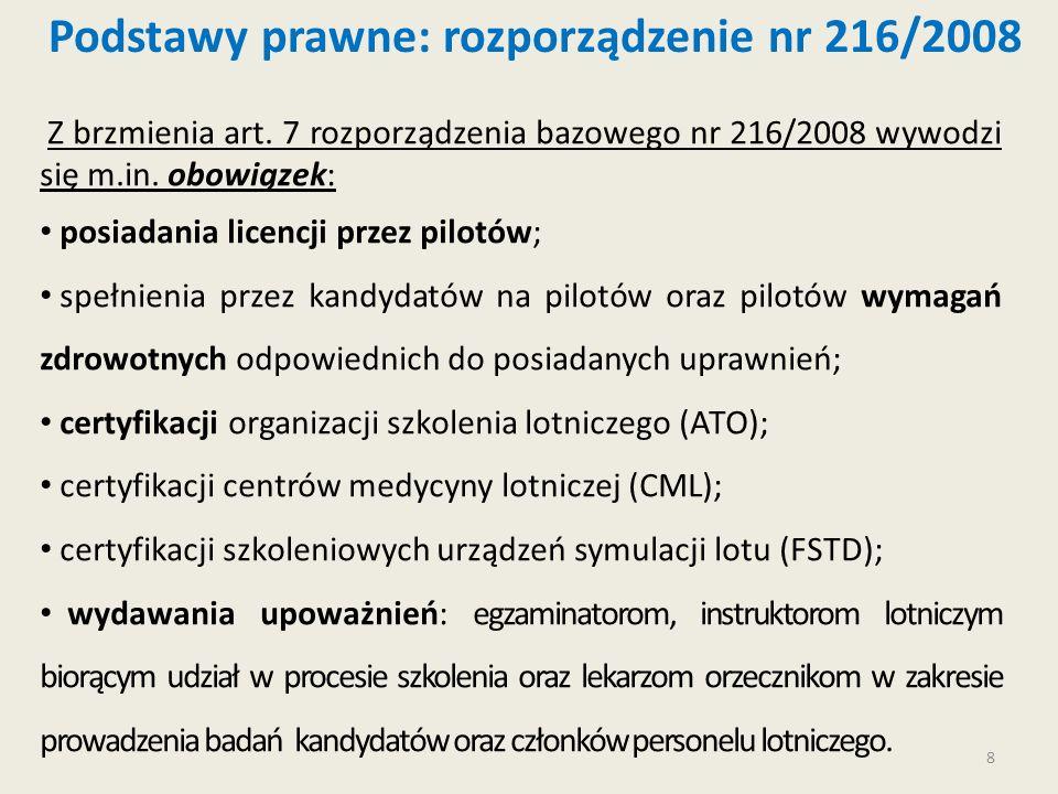 8 Z brzmienia art. 7 rozporządzenia bazowego nr 216/2008 wywodzi się m.in. obowiązek: posiadania licencji przez pilotów; spełnienia przez kandydatów n