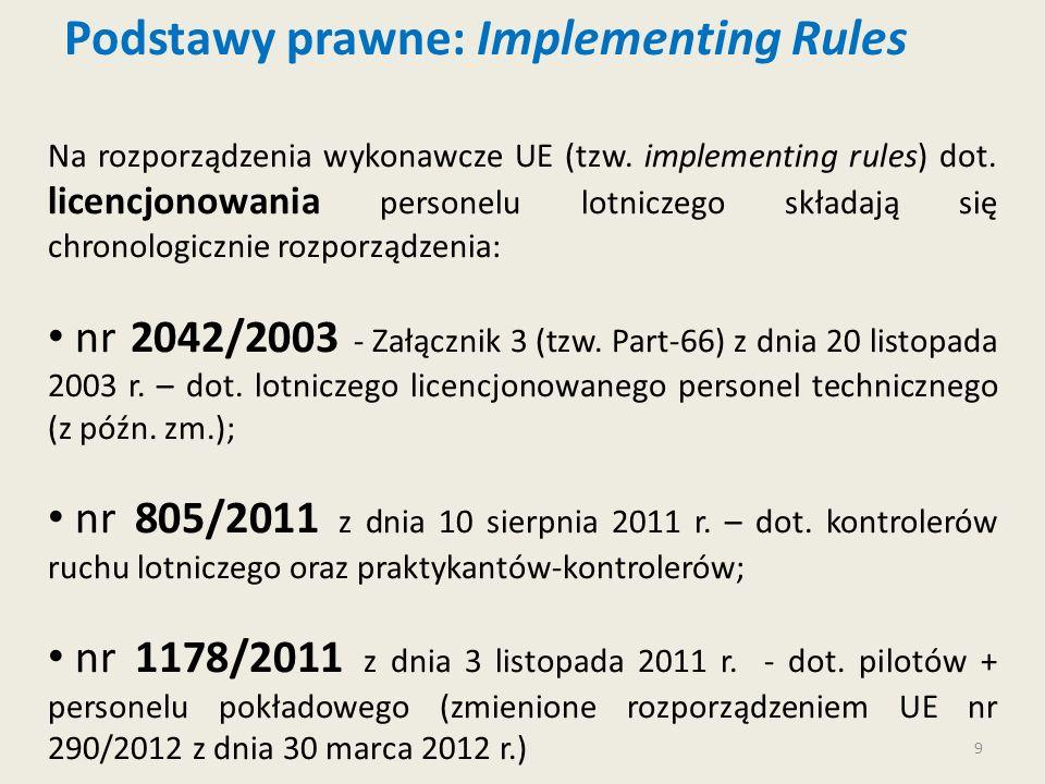 9 Podstawy prawne: Implementing Rules Na rozporządzenia wykonawcze UE (tzw. implementing rules) dot. licencjonowania personelu lotniczego składają się