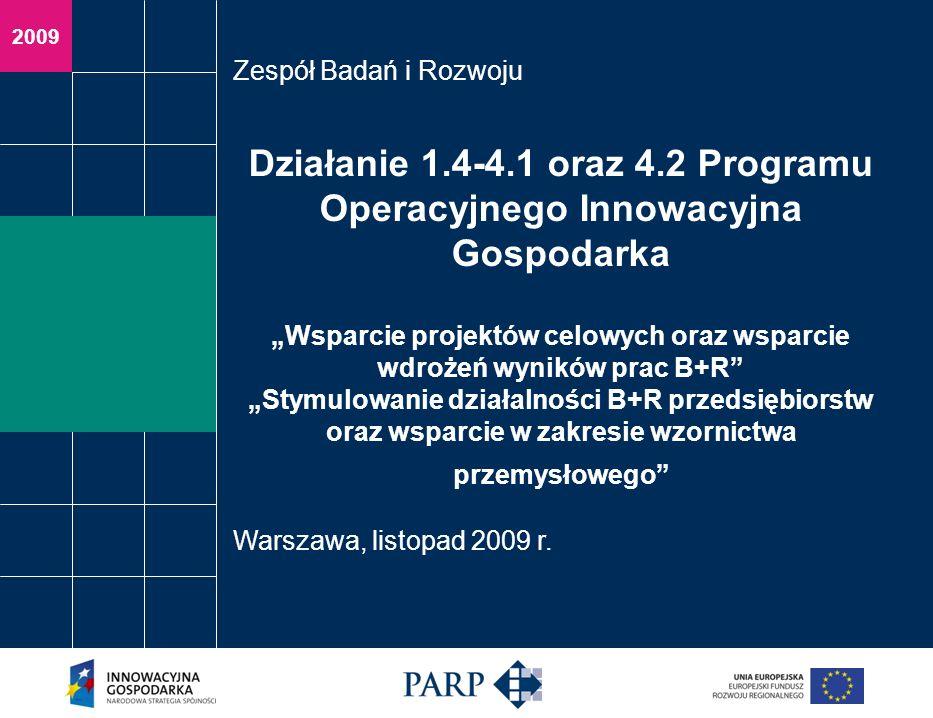 2009 Działanie 1.4-4.1 oraz 4.2 Programu Operacyjnego Innowacyjna Gospodarka Wsparcie projektów celowych oraz wsparcie wdrożeń wyników prac B+R Stymul