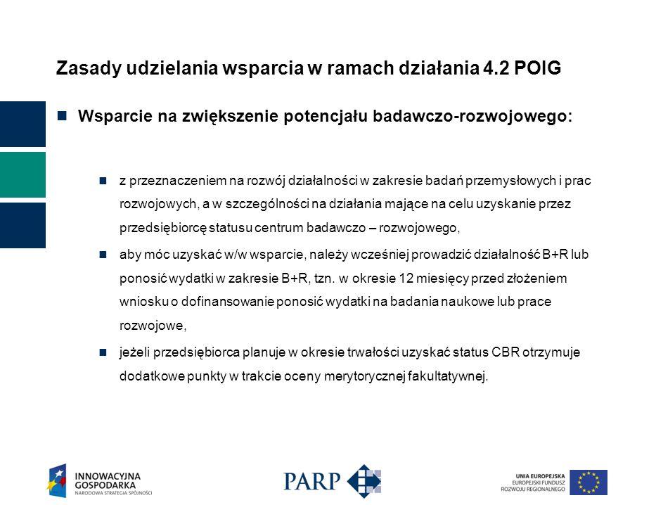 Zasady udzielania wsparcia w ramach działania 4.2 POIG Status centrum badawczo-rozwojowego może uzyskać przedsiębiorca: którego przychody netto (bez podatku od towarów i usług) ze sprzedaży towarów, produktów i operacji finansowych za poprzedni rok obrotowy wyniosły co najmniej równowartość kwoty określonej w przepisach o rachunkowości jako minimalny przychód netto ze sprzedaży towarów, produktów i operacji finansowych za poprzedni rok obrotowy osób fizycznych, spółek cywilnych osób fizycznych, spółek jawnych osób fizycznych oraz spółek partnerskich, do których stosuje się przepisy o rachunkowości, którego przychody netto (bez podatku od towarów i usług) ze sprzedaży własnych usług badawczo – rozwojowych w rozumieniu przepisów w sprawie polskiej klasyfikacji wyrobów i usług lub praw własności przemysłowej udzielonych przedsiębiorcy przez urząd właściwy do spraw własności przemysłowej, stanowią co najmniej 20% przychodów określonych powyżej, który nie zalega z zapłatą podatków oraz składek na ubezpieczenia społeczne i zdrowotne.