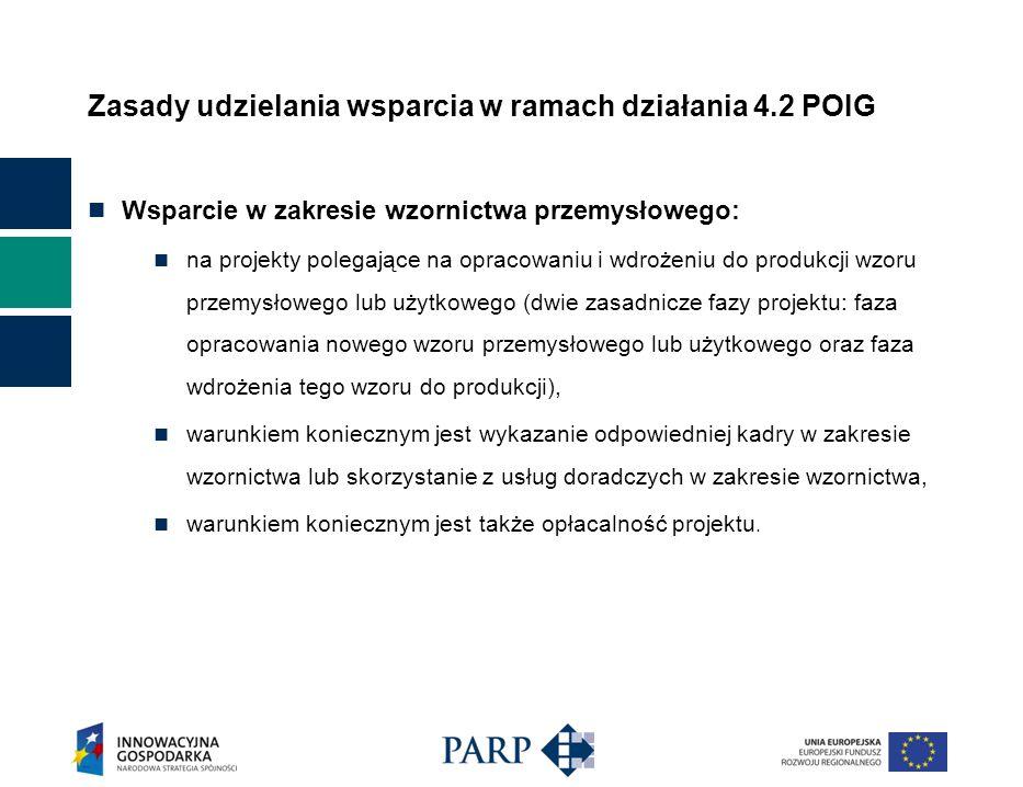 Zasady udzielania wsparcia w ramach działania 4.2 POIG Wsparcie na zwiększenie potencjału badawczo-rozwojowego oraz wsparcie w zakresie wzornictwa może być udzielone przedsiębiorcy, jeżeli złożył wniosek o udzielenie wsparcia przed dniem rozpoczęcia inwestycji, a w przypadku przedsiębiorcy innego niż mikroprzedsiębiorca, mały lub średni przedsiębiorca, jeżeli dodatkowo wykaże spełnienie co najmniej jednego z kryteriów, o którym mowa w art.