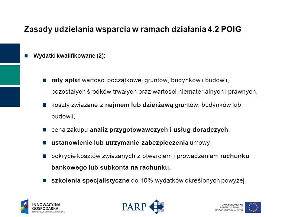 Zasady udzielania wsparcia w ramach działania 4.2 POIG Wydatki kwalifikowane (2): raty spłat wartości początkowej gruntów, budynków i budowli, pozosta