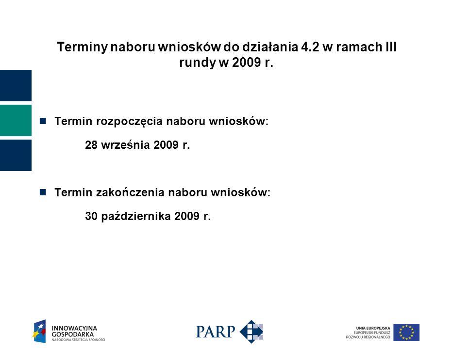 Terminy naboru wniosków do działania 4.2 w ramach III rundy w 2009 r. Termin rozpoczęcia naboru wniosków: 28 września 2009 r. Termin zakończenia nabor