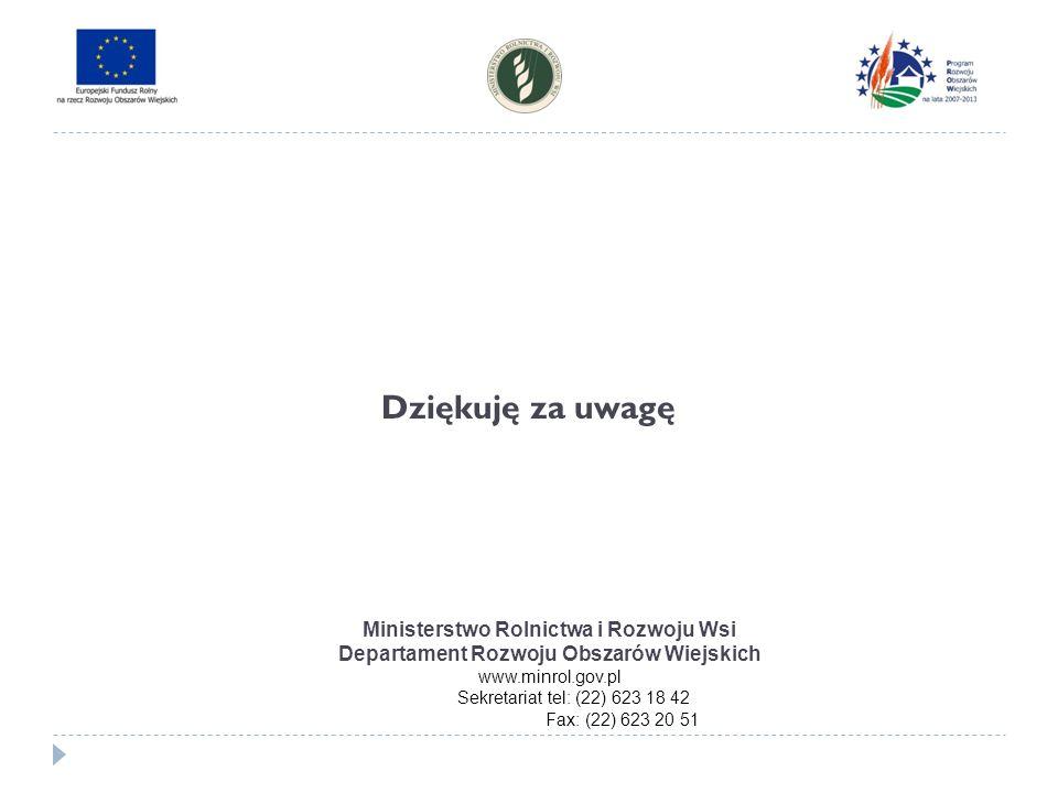 Dziękuję za uwagę Ministerstwo Rolnictwa i Rozwoju Wsi Departament Rozwoju Obszarów Wiejskich www.minrol.gov.pl Sekretariat tel: (22) 623 18 42 Fax: (