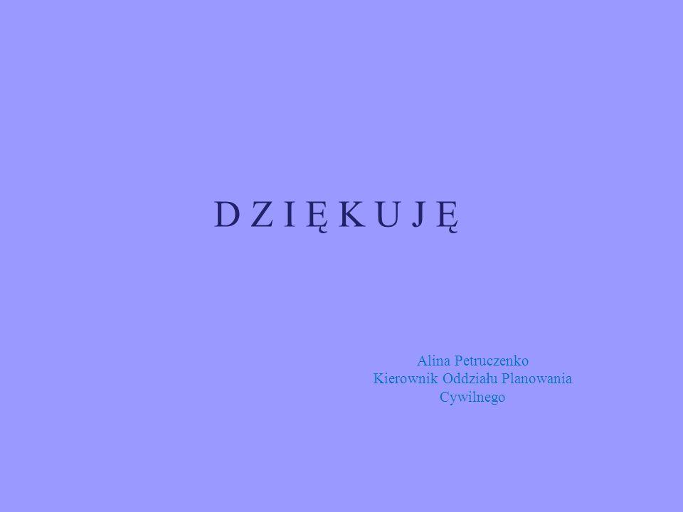 D Z I Ę K U J Ę Alina Petruczenko Kierownik Oddziału Planowania Cywilnego
