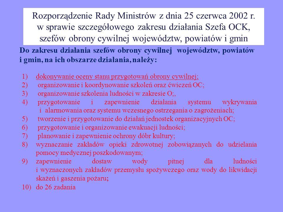 Rozporządzenie Rady Ministrów z dnia 25 czerwca 2002 r. w sprawie szczegółowego zakresu działania Szefa OCK, szefów obrony cywilnej województw, powiat