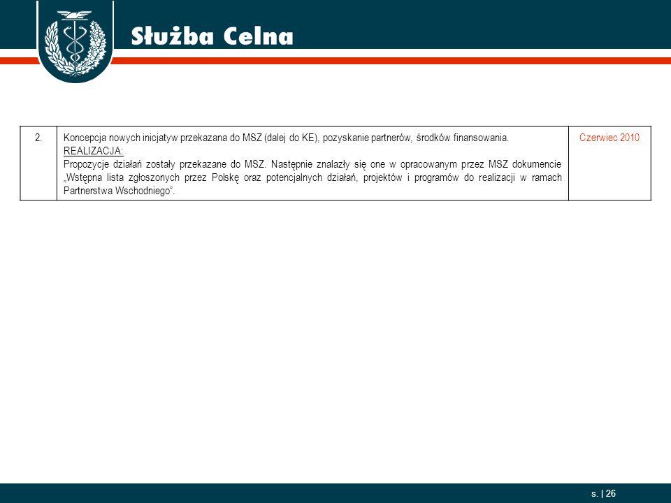 2006. 10. 01 s. | 26 2.Koncepcja nowych inicjatyw przekazana do MSZ (dalej do KE), pozyskanie partnerów, środków finansowania. REALIZACJA: Propozycje