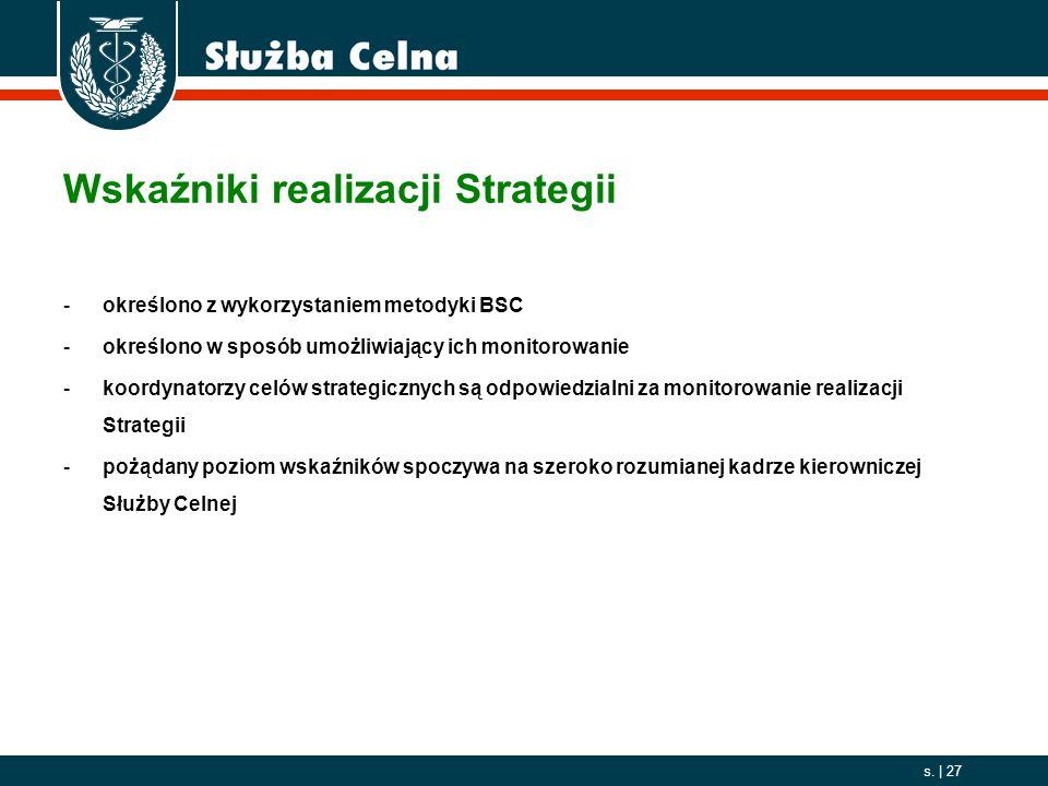 2006. 10. 01 s. | 27 Wskaźniki realizacji Strategii -określono z wykorzystaniem metodyki BSC -określono w sposób umożliwiający ich monitorowanie -koor