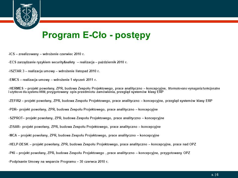 2006. 10. 01 s. | 6 -ICS – zrealizowany – wdrożenie czerwiec 2010 r. -ECS zarządzanie ryzykiem security&safety – realizacja – październik 2010 r. -ISZ