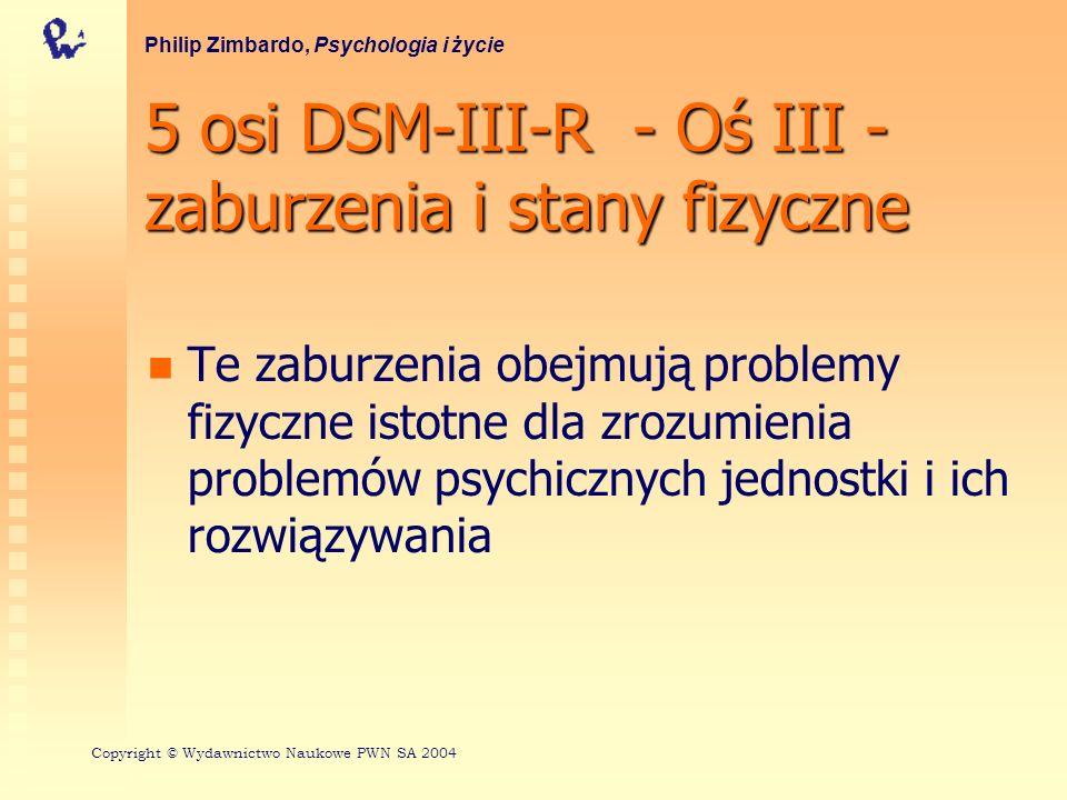 5 osi DSM-III-R - Oś III - zaburzenia i stany fizyczne Te zaburzenia obejmują problemy fizyczne istotne dla zrozumienia problemów psychicznych jednost