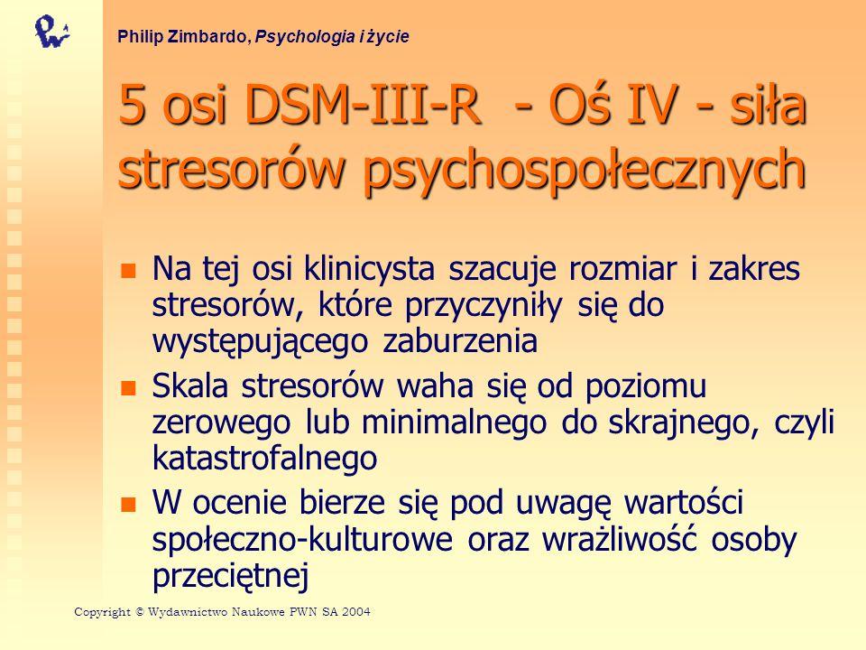 5 osi DSM-III-R - Oś IV - siła stresorów psychospołecznych Na tej osi klinicysta szacuje rozmiar i zakres stresorów, które przyczyniły się do występuj