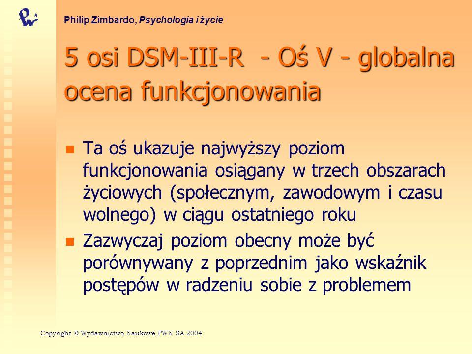 5 osi DSM-III-R - Oś V - globalna ocena funkcjonowania Ta oś ukazuje najwyższy poziom funkcjonowania osiągany w trzech obszarach życiowych (społecznym