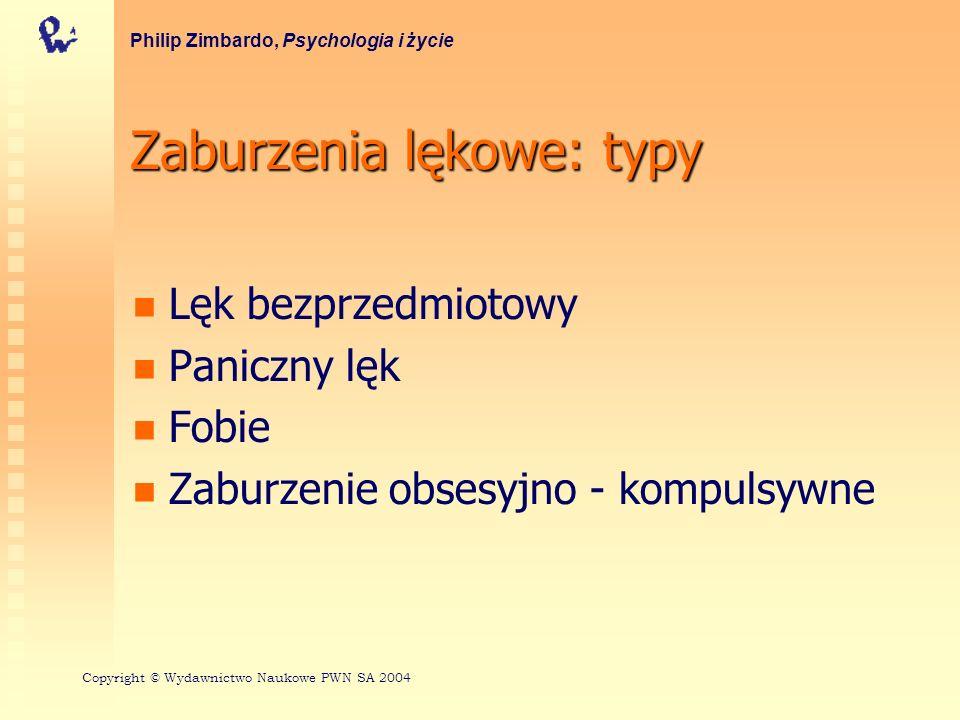 Zaburzenia lękowe: typy Lęk bezprzedmiotowy Paniczny lęk Fobie Zaburzenie obsesyjno - kompulsywne Philip Zimbardo, Psychologia i życie Copyright © Wyd
