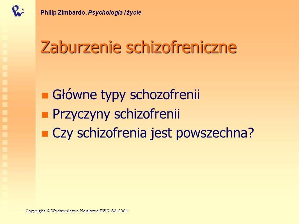 Zaburzenie schizofreniczne Główne typy schozofrenii Przyczyny schizofrenii Czy schizofrenia jest powszechna? Philip Zimbardo, Psychologia i życie Copy